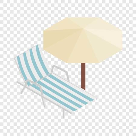 brolly: Sun lounger and parasol isometric icon 3d on a transparent background vector illustration