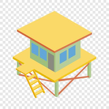 Rescue tower isometric icon 3d on a transparent background vector illustration