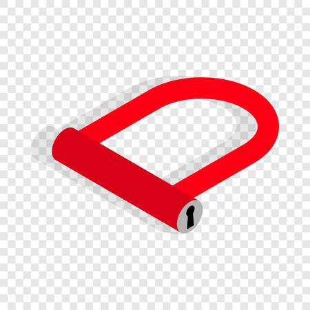 Bicycle Lock U shaped isometric icon 3d on a transparent background vector illustration