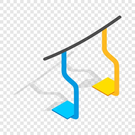 chairlift: Ski lift isometric icon 3d on a transparent background vector illustration Illustration