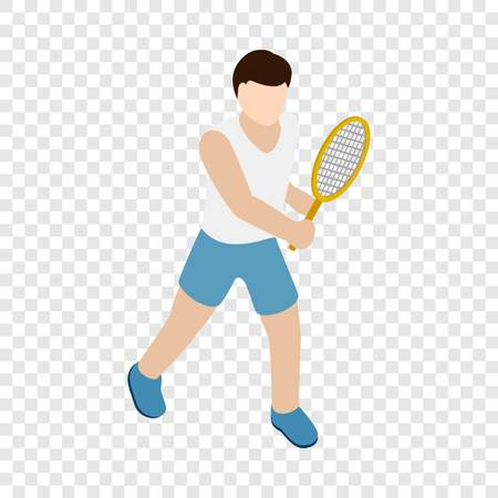 Man playing tennis with tennis racket isometric icon 3d on a transparent background vector illustration
