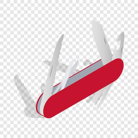Pocket knife isometric icon 3d on a transparent background vector illustration