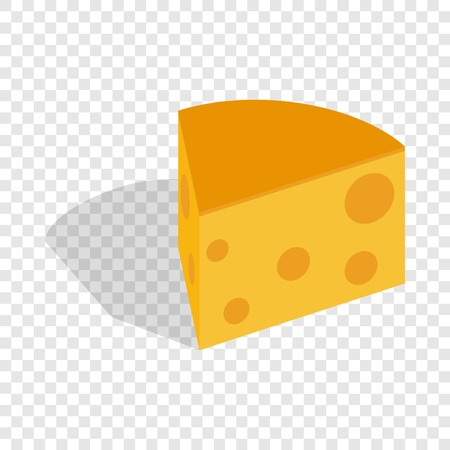 Piece of cheese isometric icon 3d on a transparent background vector illustration