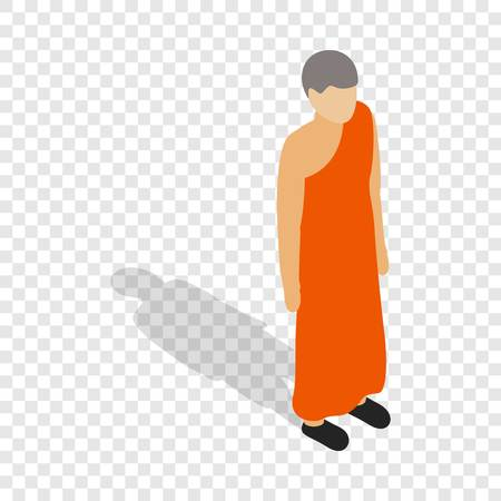 Buddhist monk wearing orange robe isometric icon 3d on a transparent background vector illustration