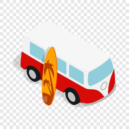 minibus: Retro red bus with yellow surfboard isometric icon 3d on a transparent background vector illustration