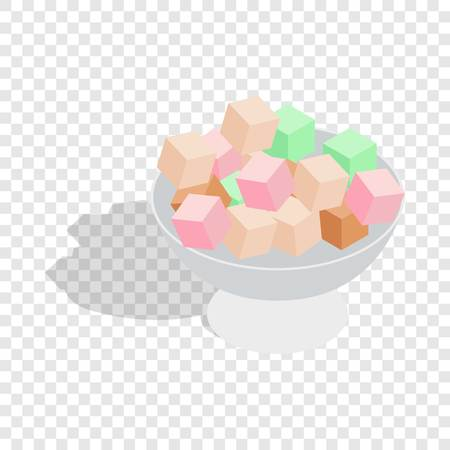 sugar cube: Turkish delight isometric icon 3d on a transparent background vector illustration