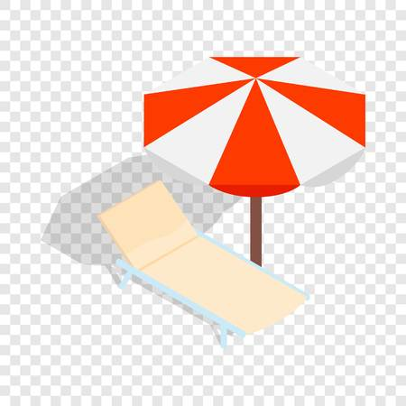 Beach chaise lounge with umbrella isometric icon 3d on a transparent background vector illustration Illustration