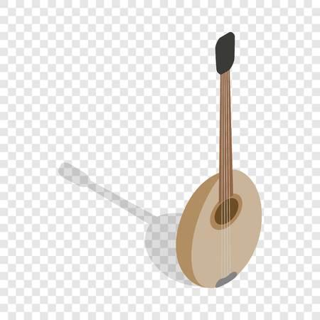 saz: Traditional turkish music instrument isometric icon 3d on a transparent background vector illustration Illustration