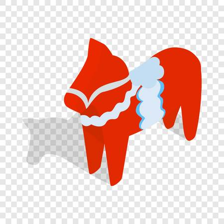 Red wooden horse, national symbol of Sweden isometric icon 3d on a transparent background vector illustration