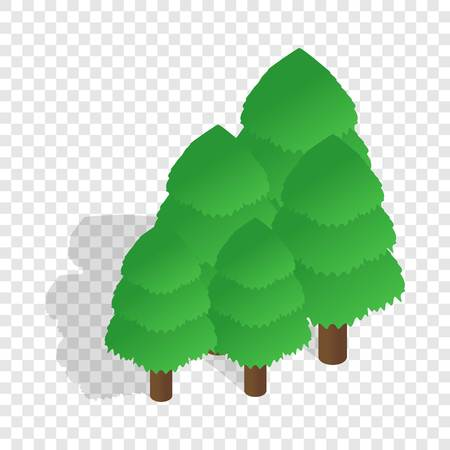 Trees isometric icon 3d on a transparent background vector illustration