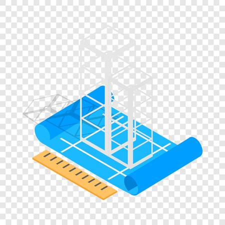 Building construction plan isometric icon 3d on a transparent background vector illustration