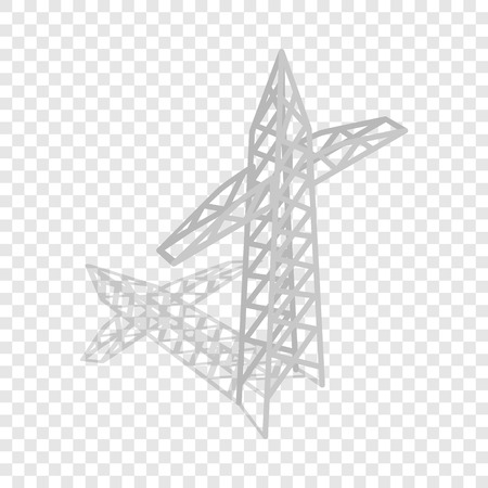 Power transmission tower isometric icon 3d on a transparent background vector illustration