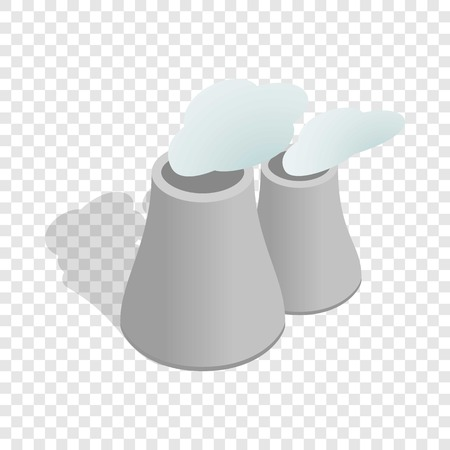 Smoking pipes of thermal power plant isometric icon 3d on a transparent background vector illustration