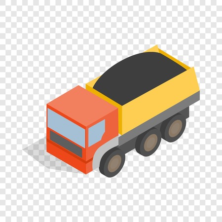 Dump truck isometric icon 3d on a transparent background vector illustration