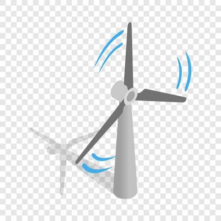 風車の電力生産等尺性のアイコンの透明な背景のベクトル図に 3 d
