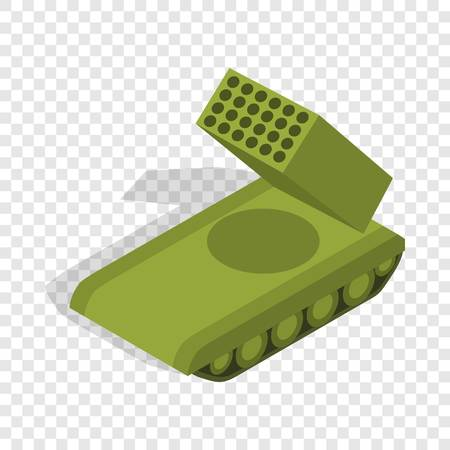 ballistic missile: Multiple launch rocket system isometric icon 3d on a transparent background vector illustration