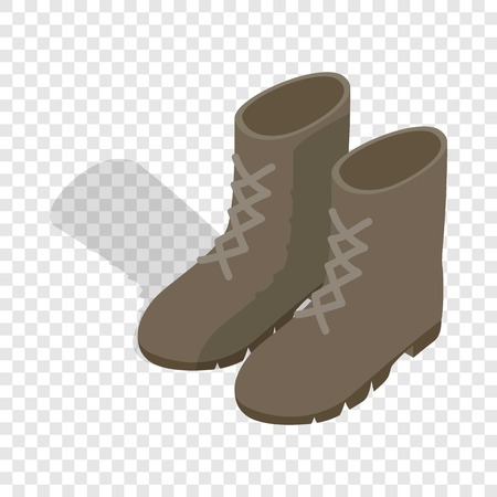foot gear: Combat military boots isometric icon 3d on a transparent background vector illustration Illustration