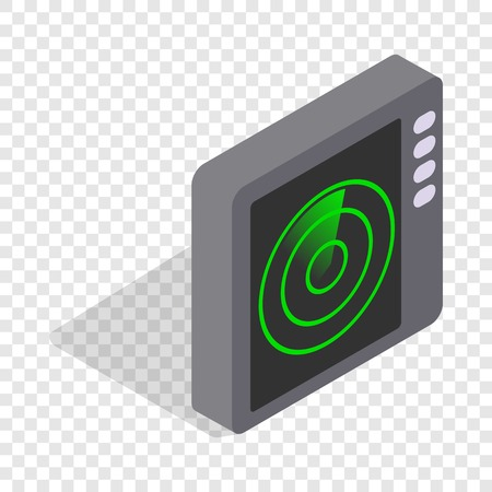 Radar screen isometric icon 3d on a transparent background vector illustration