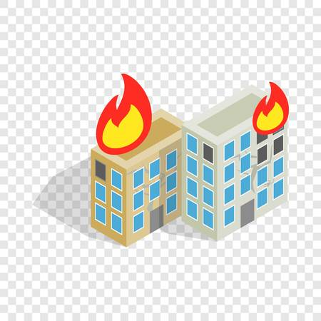 Multistory houses burn, modern war isometric icon 3d on a transparent background vector illustration