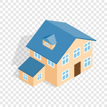 two storey: Two storey house with annexe isometric icon 3d on a transparent background vector illustration
