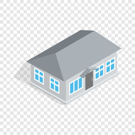 Gray house isometric icon 3d on a transparent background vector illustration
