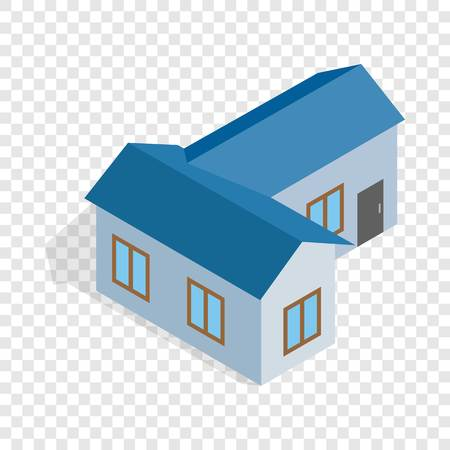 building site: Blue house isometric icon 3d on a transparent background vector illustration