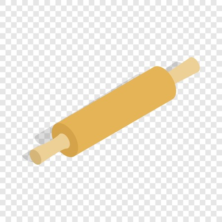 Rolling pin isometric icon 3d on a transparent background vector illustration Illustration