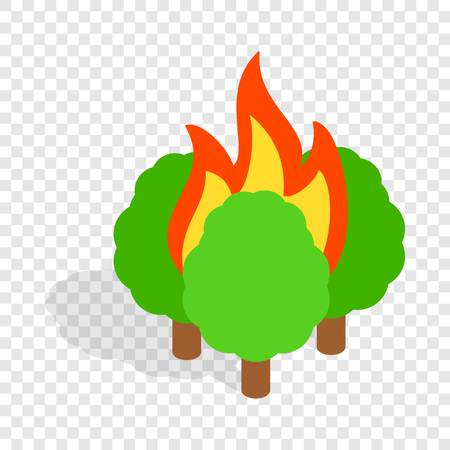 conflagration: Burning trees isometric icon 3d on a transparent background vector illustration