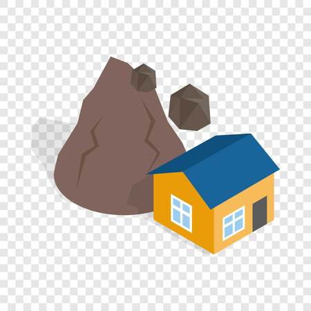 Rockfall destroys house isometric icon 3d on a transparent background vector illustration