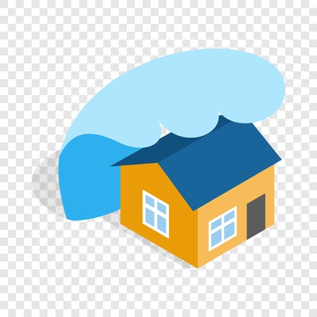 Big wave of tsunami over the house isometric icon 3d on a transparent background vector illustration