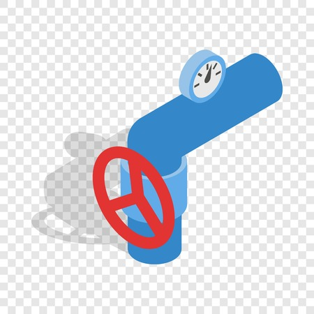 Pipe with a red valve and meter isometric icon 3d on a transparent background vector illustration