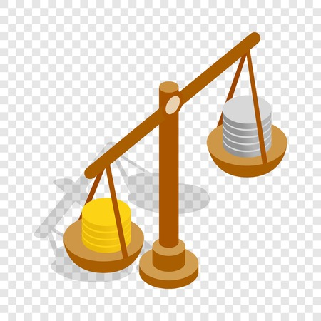 Scales with coins isometric icon 3d on a transparent background vector illustration