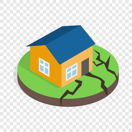Casa dopo un terremoto icona isometrica 3d su uno sfondo trasparente illustrazione vettoriale