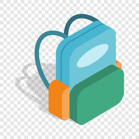School backpack isometric icon 3d on a transparent background vector illustration