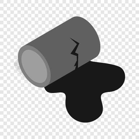 Oil is spilling from the barrel isometric icon 3d on a transparent background vector illustration