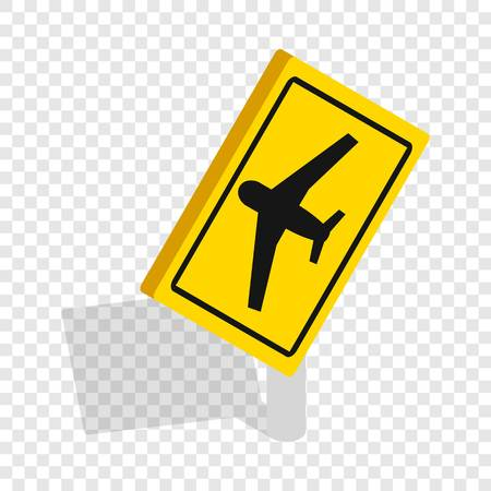 beware: Sign for beware airplane isometric icon