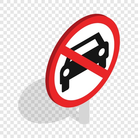 illegal zone: No car traffic sign isometric icon