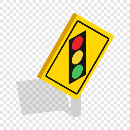 danger ahead: Light traffic sign isometric icon Illustration