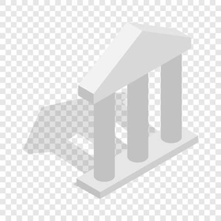 Facade with three pillars isometric icon