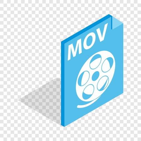 mov: MOV video file extension isometric icon Illustration