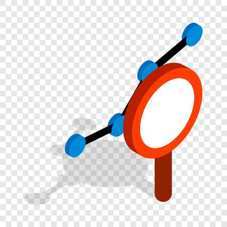 Chart through a magnifying glass isometric icon