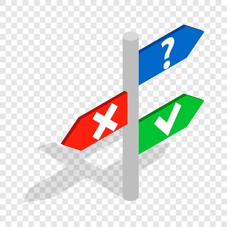 Post with signs isometric icon