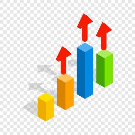 Growth chart isometric icon Illustration