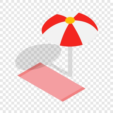 brolly: Beach towel and umbrella isometric icon