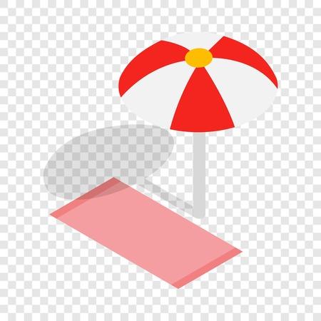 Beach towel and umbrella isometric icon
