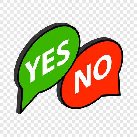 yes no: Speech bubble yes no isometric icon Illustration