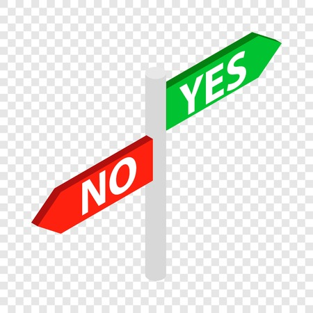 yes no: Sign yes no isometric icon Illustration