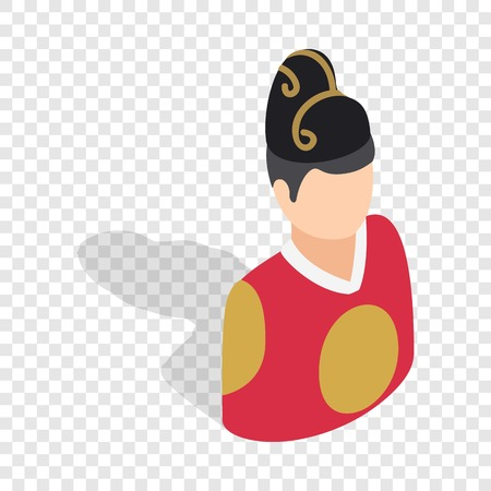 Man in korean costume isometric icon Illustration