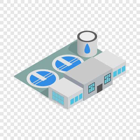 Water treatment building isometric icon