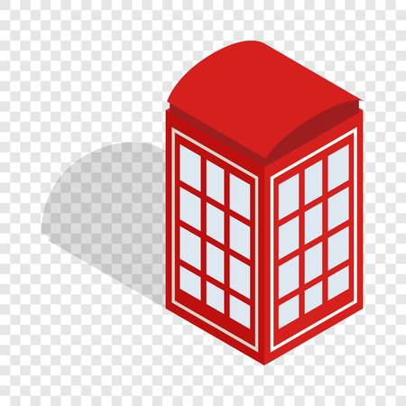 determinant: Red telephone booth isometric icon Illustration